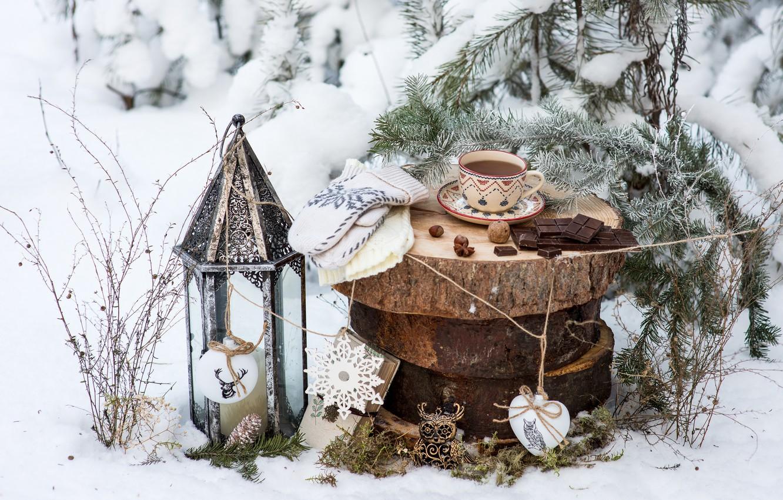 Фото обои зима, снег, украшения, чай, игрушки, елка, шоколад, Новый Год, Рождество, чашка, happy, Christmas, vintage, winter, …