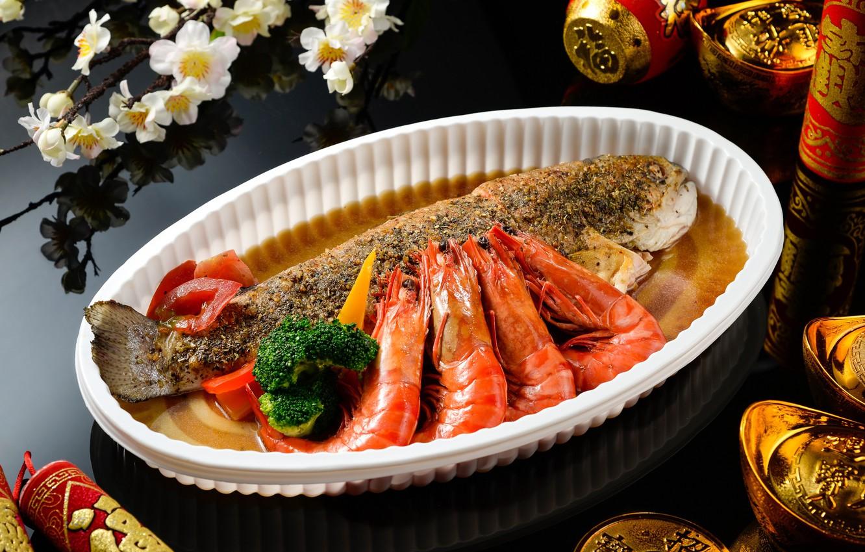 Фото обои еда, рыба, блюдо, креветки, морепродукты