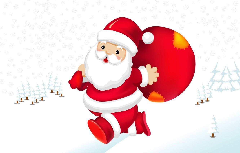 Фото обои праздник, вектор, арт, Санта Клаус, детская, зима. Новый год