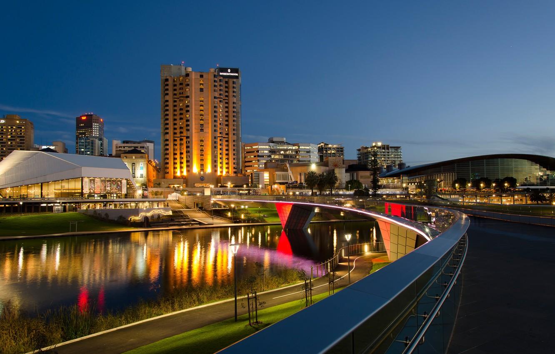 Фото обои мост, огни, река, здания, дома, вечер, Австралия, Adelaide