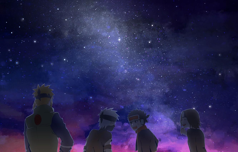Фото обои небо, звезды, ночь, star, млечный путь, Naruto, night, night sky, Hatake Kakashi, Nohara Rin, Uchiha …