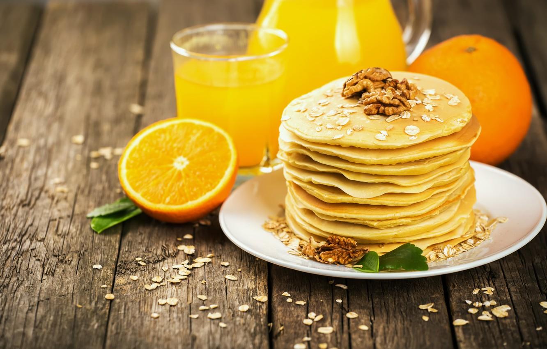 Фото обои завтрак, сок, Orange, блины, wood, fruit, апельсиновый, Nuts, pancake