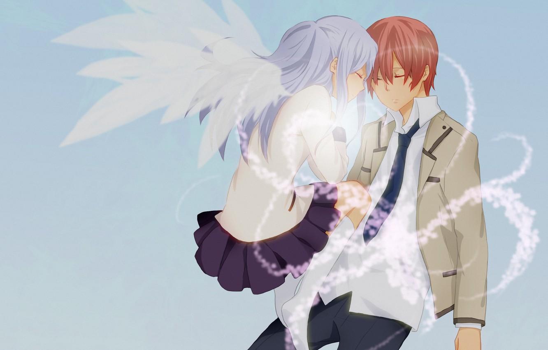Фото обои арт, двое, Angel Beats!, Ангельские ритмы