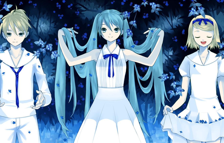 Фото обои девушки, парень, Vocaloid, Вокалоид, трое, Хатсуне Мику, Кагомине Лен, Кагомине Рин