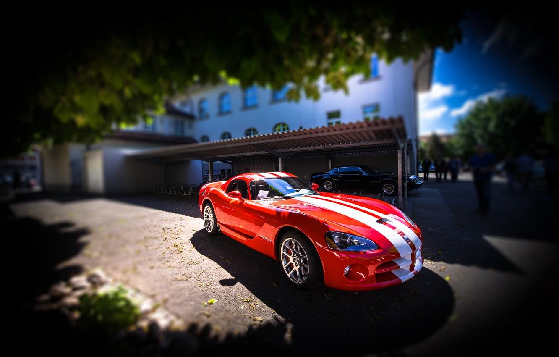Фото обои красный, Dodge, Viper, Dodge Viper SRT-10, SRT-10
