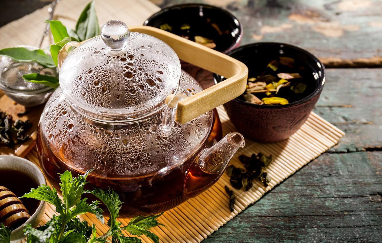 Обои мята, чай, чайник, доски. Еда foto 6