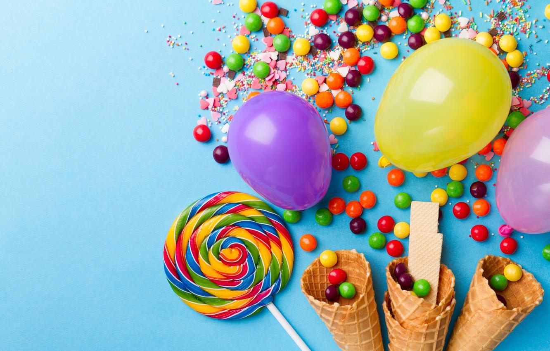 Фото обои шарик, сладости, леденцы, рожок, карамель