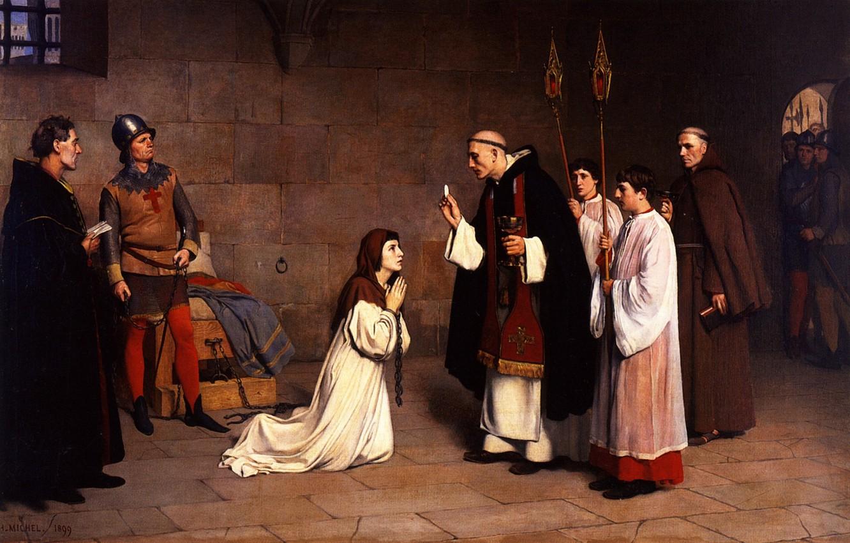 Фото обои Мишель, 1899, Шарль-Анри, Жанна д'Арк в тюрьме, Последнее причастие Жанны или