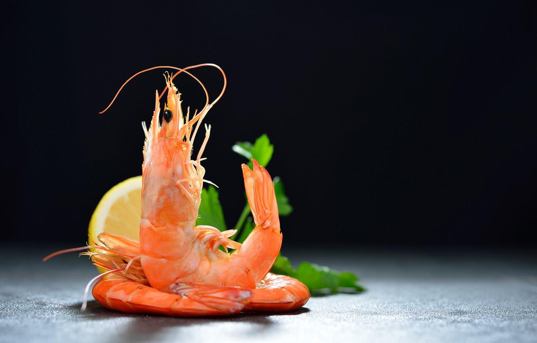 Фото обои зелень, лимон, креветки, морепродукты