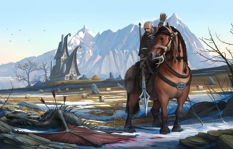 Фото обои горы, конь, дракон, лошадь, воин, фэнтези, арт, сюжет, illustrator, romain flamand, berger defender