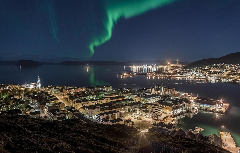 Фото обои огни, северное сияние, Норвегия, полярное сияние, Hammerfest
