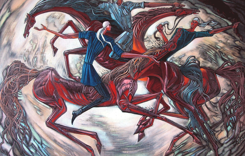 Фото обои лошади, три парня, Айбек Бегалин, Кокпар, 2004г.