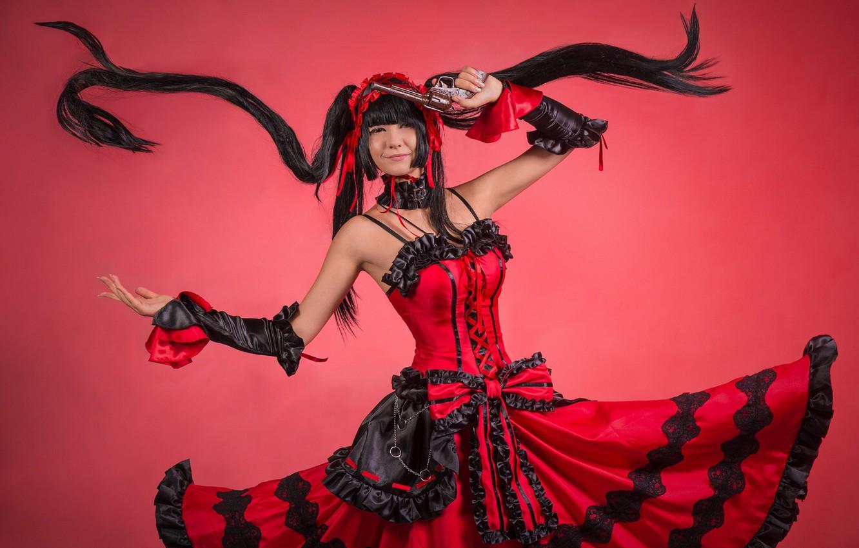 Фото обои девушка, оружие, красное платье, косплей, Date a Live