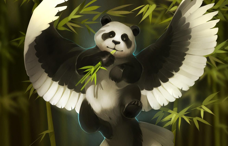 Фото обои фентези, крылья, бамбук, арт, панда, art, Александра Хитрова, GaudiBuendia