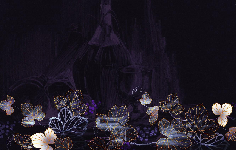 Фото обои листья, ягоды, фон, графика, текстура, бокалы, виноград, кувшин, виноделие