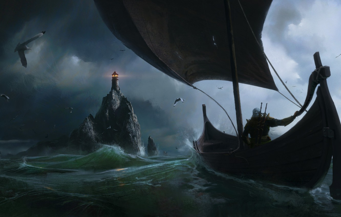 Фото обои the witcher, Fantasy, Games, sea, art, boat, lighthouse, Painting, Jeremy Paillotin