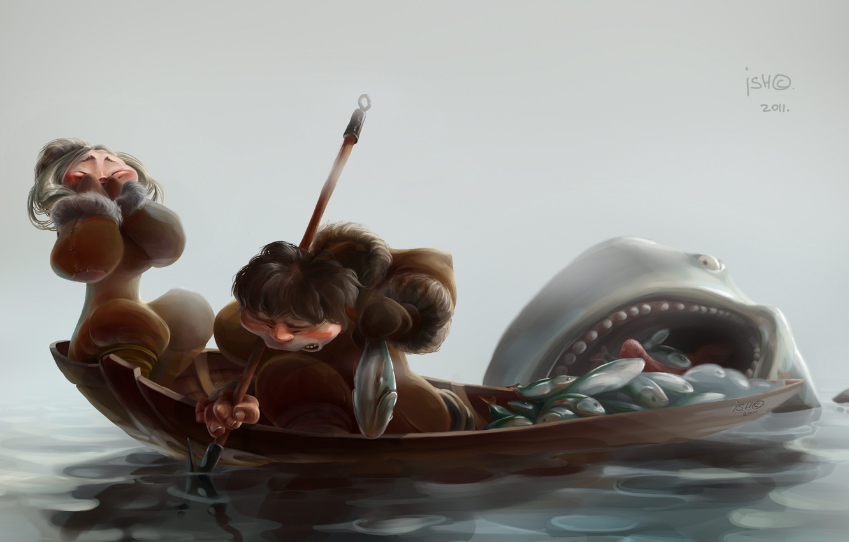Фото обои рыбалка, ситуация, арт, улов, ишмаев сергей