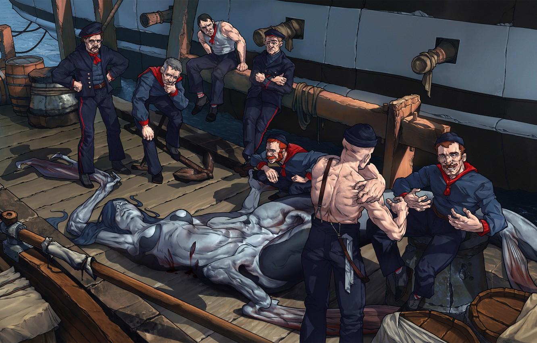 Фото обои fantasy, hat, men, artist, ship, digital art, pier, artwork, mermaid, fantasy art, uniform, yet, barrels, …