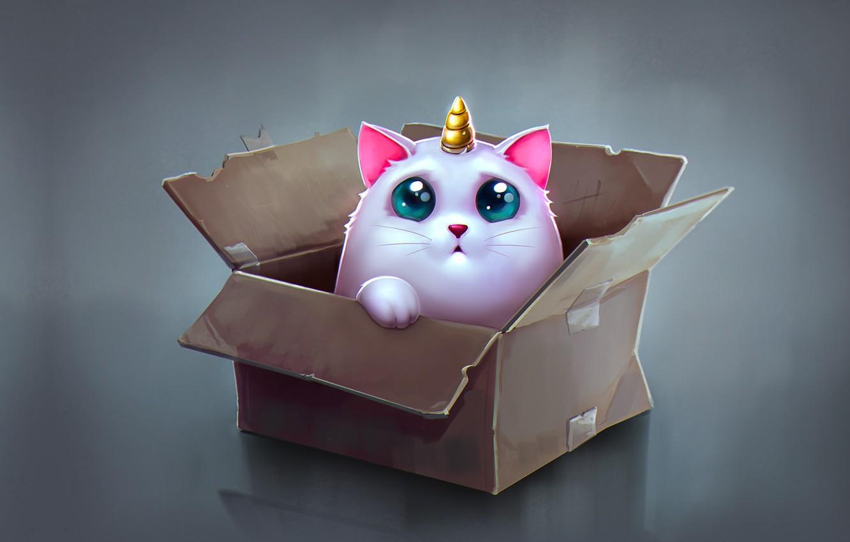 Фото обои аниме, арт, коробочка, детская, Katya Art, Cat Unicorn