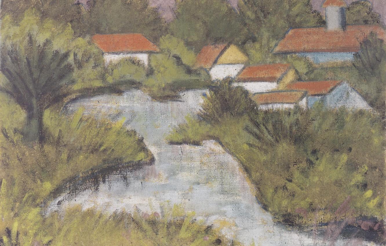 Фото обои река, дома, кусты, Экспрессионизм, Otto Mueller, ca1929, Rote Dacher -