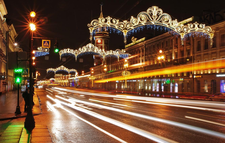 Обои дома, улица, фонари, движение, ночь. Города foto 6