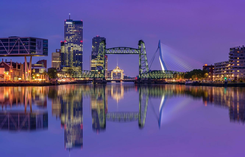 Фото обои ночь, мост, огни, дома, Нидерланды, Роттердам