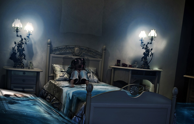 Фото обои комната, кровать, картина, наводнение, девочка, BossLogic, PRINT, Million Tears