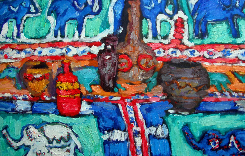 Фото обои посуда, натюрморт, слоны, 2011, тары, Петяев