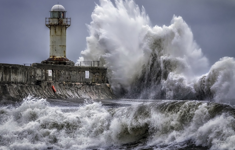 Фото обои море, волна, маяк