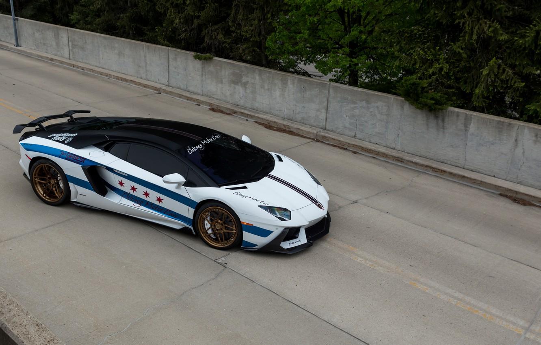 Фото обои Lamborghini, Cars, Art, Chicago, Auto, Rally, Aventador, for, Motor, built, goldrush
