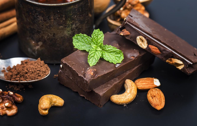 Фото обои шоколад, орехи, мята