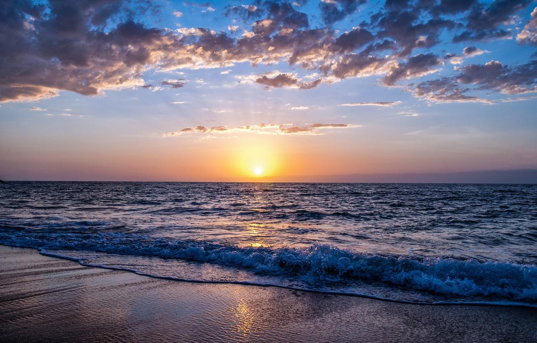 Фото обои море, волны, закат