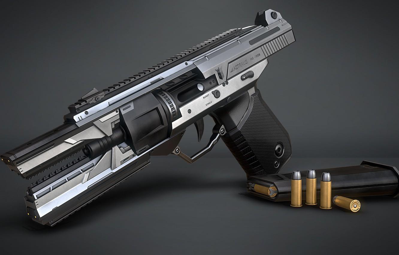 Фото обои оружие, арт, Sci-fi Handgun, Marcelo M. Prado