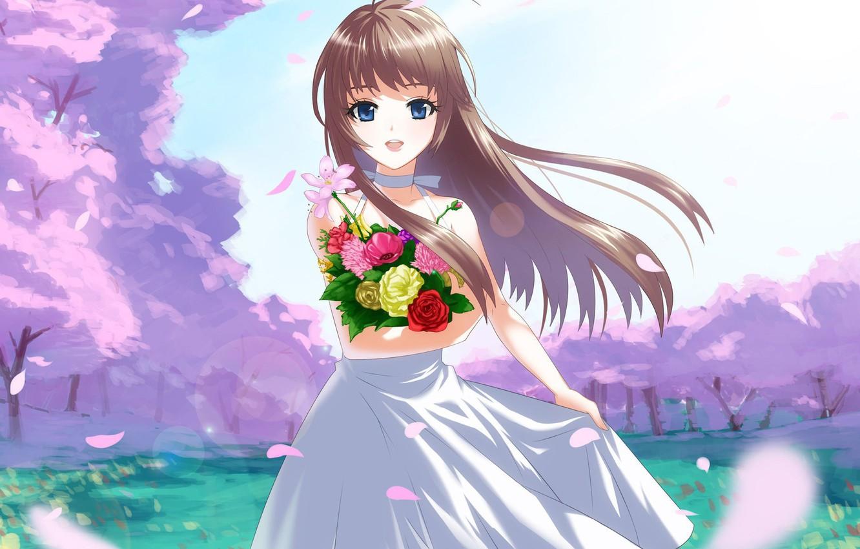 Фото обои улыбка, ветер, поляна, букет, лепестки, девочка, голубые глаза, цветение, длинные волосы, сарафан, сакура весна