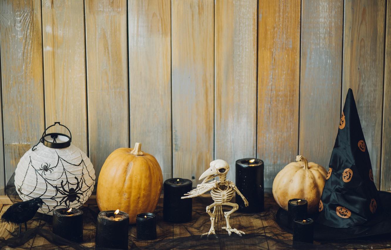 Фото обои праздник, шляпа, свечи, тыква, хэллоуин