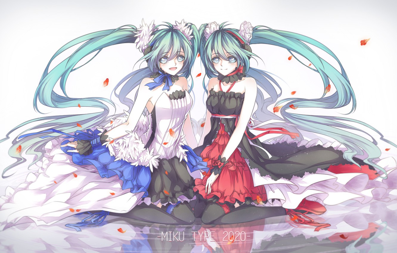 Фото обои вода, отражение, девушки, аниме, лепестки, арт, vocaloid, hatsune miku, 7th dragon 2020, kitchan