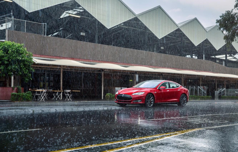 Фото обои Красный, Дождь, Автомобиль, Model, Tesla, Motors, P85, 2012-14