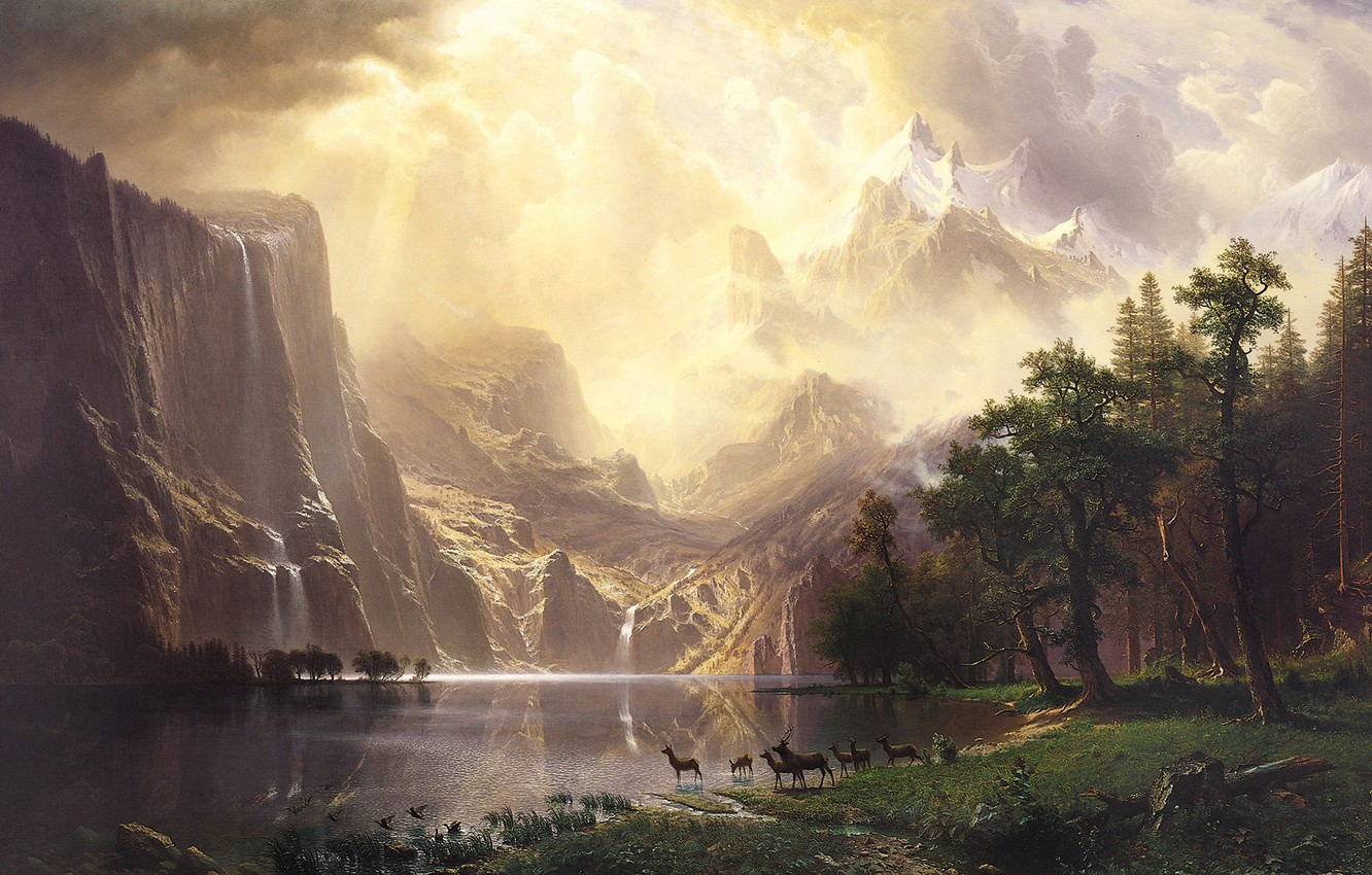 Фото обои пейзаж, природа, арт, Albert Bierstadt, Альберт Бирштадт, Among the Sierra Nevada Mountains-California