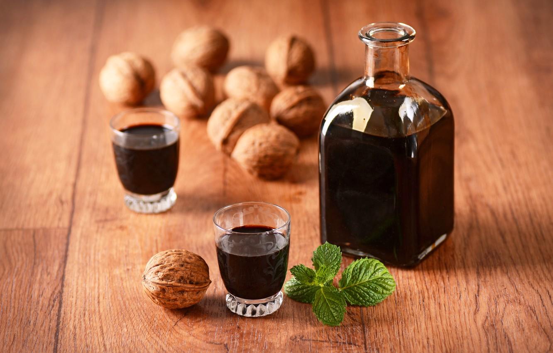 Фото обои вино, алкоголь, орехи, мята, nuts, drinks, bottle
