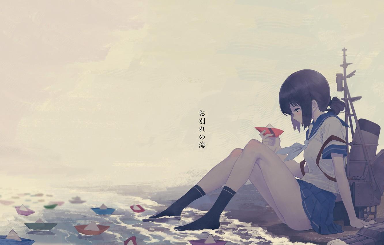 Фото обои girl, school uniform, legs, anime, water, mood, artwork, feeling, socks, thinking, Kantai Collection, anime girl, …