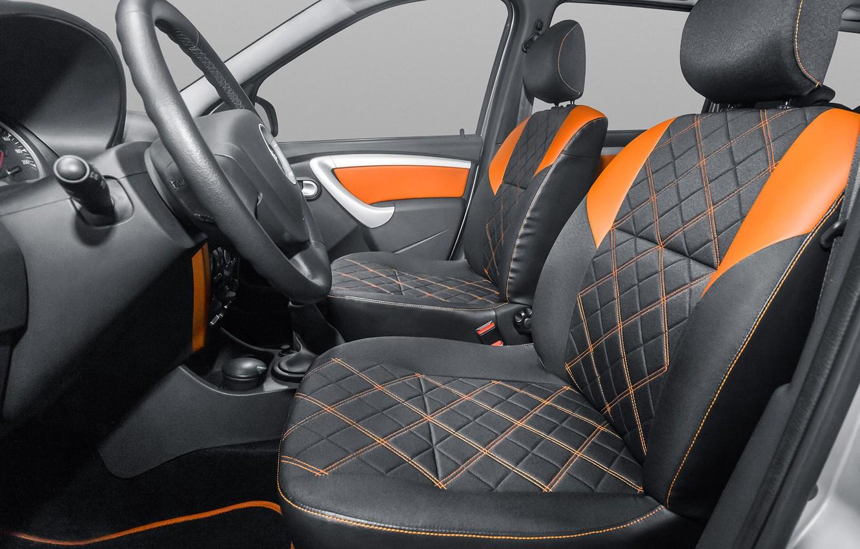 Фото обои серый, руль, вид сбоку, салон, orange, Lada Largus