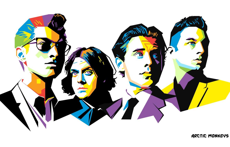 Фото обои гитарист, рок-группа, барабанщик, Arctic Monkeys, вокалист, британская рок-группа, low poly, бас-гитарист, Арктические мартышки, Алекс Тёрнер, …