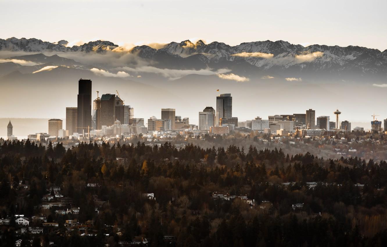 Фото обои город, туман, Seattle