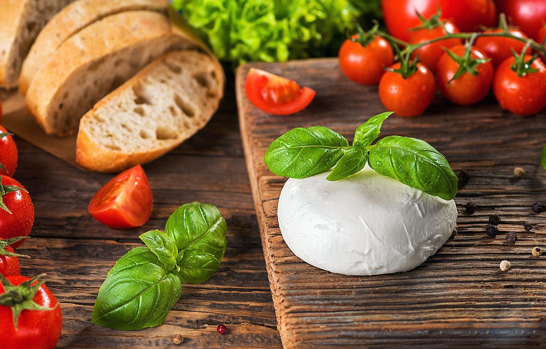 Фото обои Зелень, Сыр, Помидоры, Хлеб
