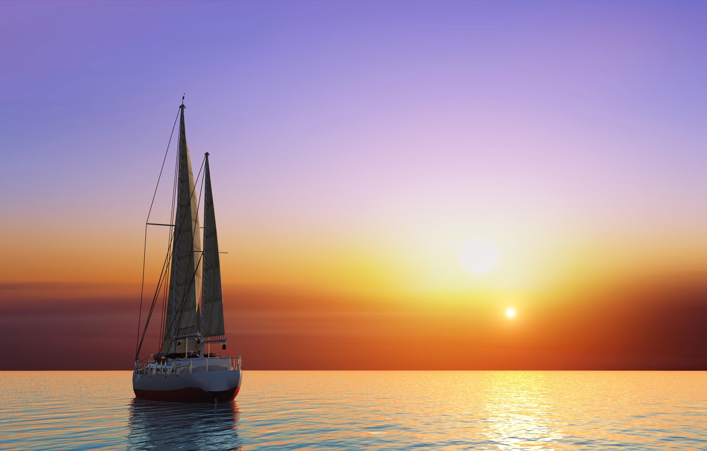 Фото обои море, небо, солнце, закат, графика, яхта, горизонт, зарево, паруса