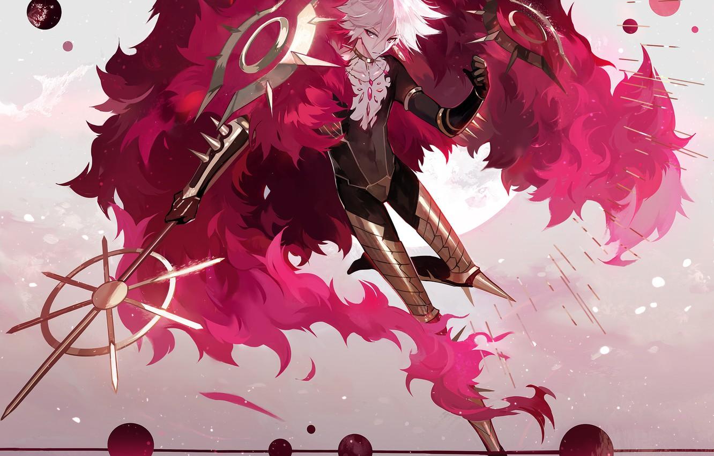 Фото обои аниме, арт, парень, Fate/Grand Order, Red Lancer