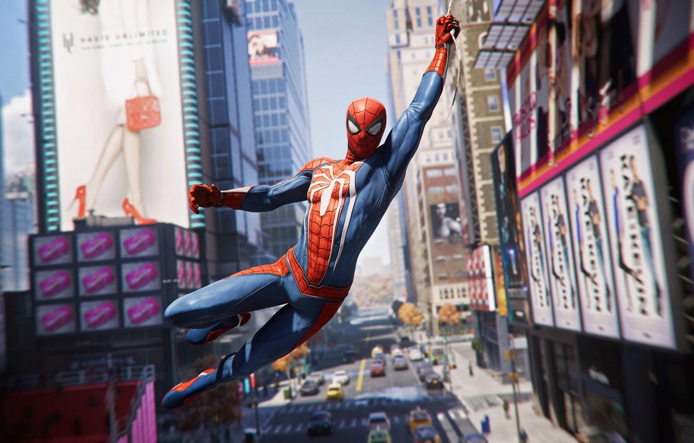 Фото обои Город, Игра, Паутина, Реклама, Костюм, Здания, City, Герой, Маска, Супергерой, Hero, Web, Marvel, Человек-паук, Game, …