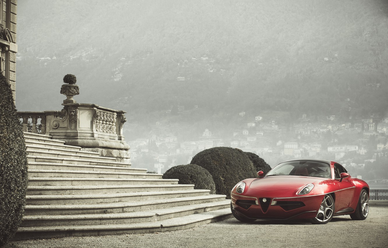 Фото обои Красный, Alfa Romeo, Автомобиль, 2013, Металлик, Disco Volante Touring