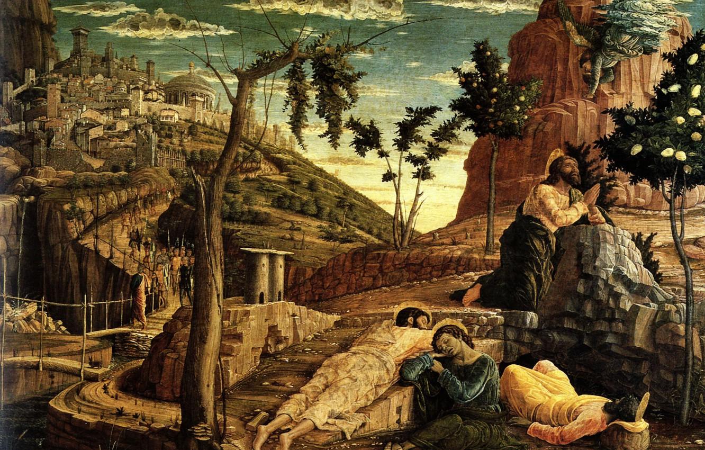 Фото обои Tours, Andrea Mantegna, Bois transposé sur Toile, 1459, musée des Beaux Arts, La Prière au …