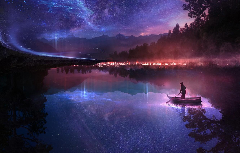 Фото обои лес, небо, звезды, ночь, озеро, фантазия, лодка, человек, зеркало, арт